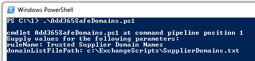 Powershell script showing How to whitelist domains in office 365