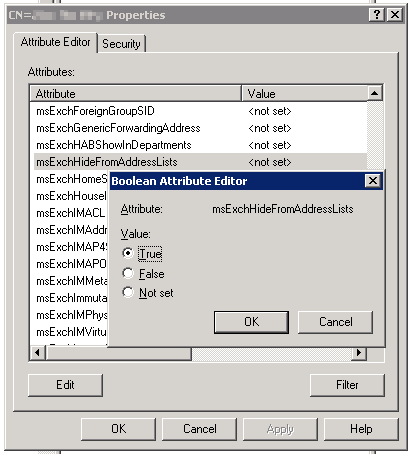 Using adsiedit to set MsExchHideFromAddressLists to true to hide a user from the Office 365 GAL