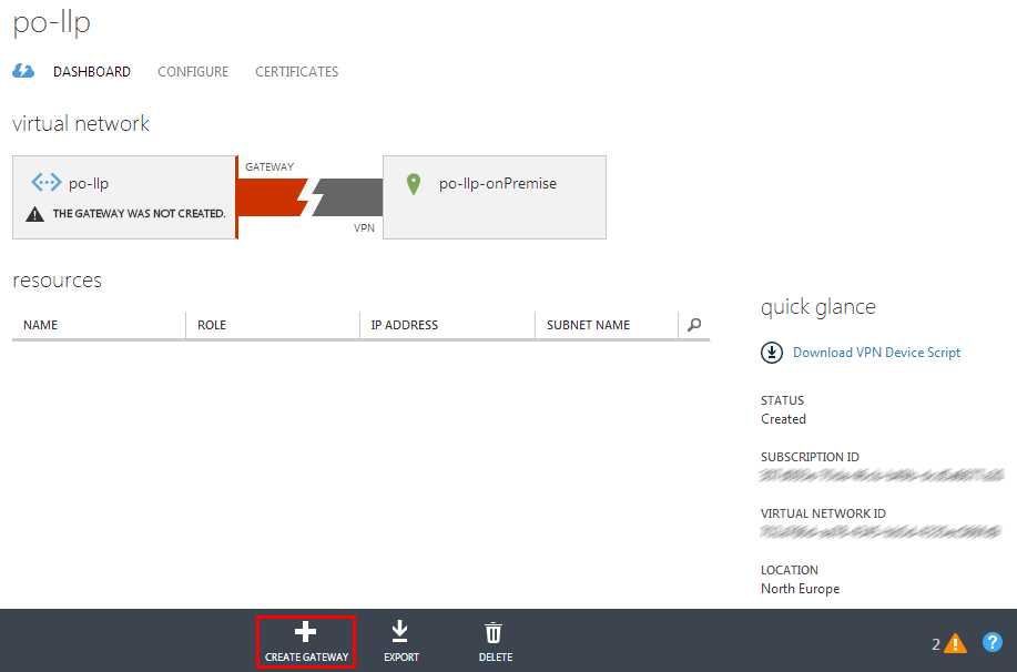 Azure Virtual Network Dashboard without a gateway created