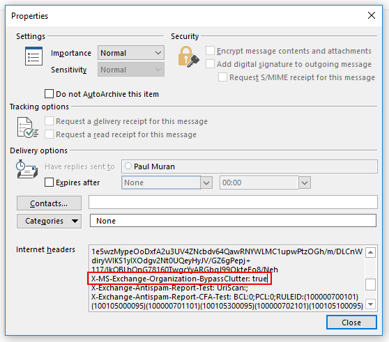 Screenshot showing message properties from a message that has bypassed clutter