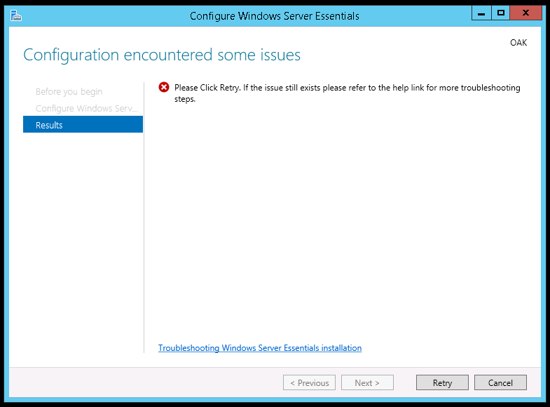 Configuration Encountered some issues on Windows Server 2012 r2 Essentials Edition