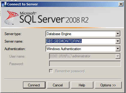 Connect to SBSMONITORING Database with SQL Server Management Studio