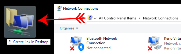 Image showing how to create a shortcut on Windows 10 Directly to the Network Connections Folder