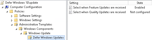 Image showing group policy settings to defer Windows Quality and Feature updates