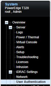 Image showing User Authentication Settings on Dell iDRAC Enterprise