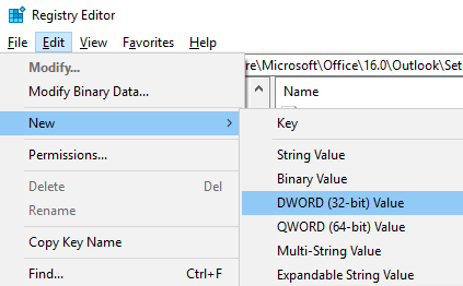 Image showing creation of new registry entry to disable simplified account creation in Outlook 2016 or 2019