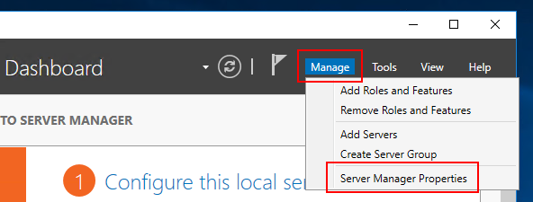Image showing how to access Server Manager Properties to disable startup of Server Manager when logging into Windows Server 2016