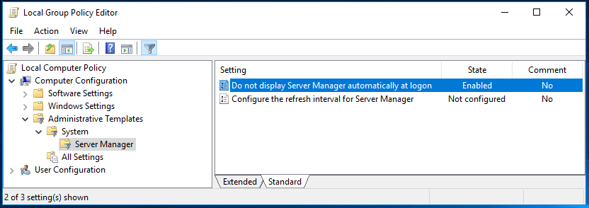 Image showing how to disable server manager at startup using group policy