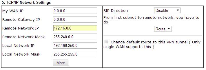 Define network details for VPN connection between Azure and a Draytek Router