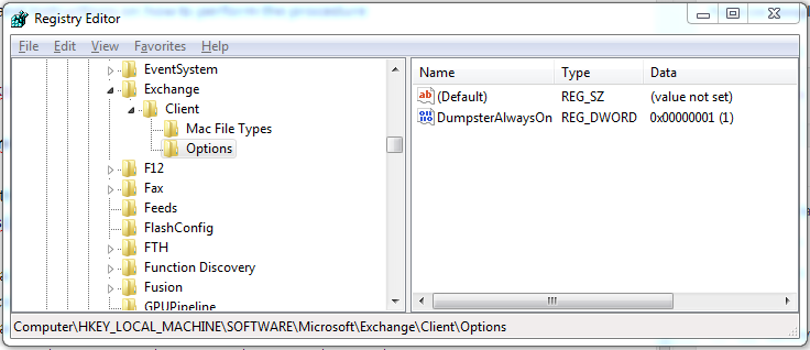 Setting DumpsterAlwaysOn in the registry to enable Outlook to recover hard deleted items.