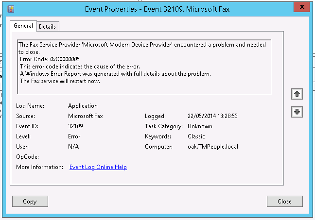 Event 32109 from Microsoft Fax