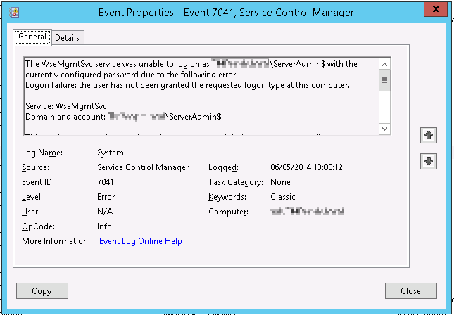 Event 7041 logged when trying to run the Windows Server 2012 r2 Essentials configuration wizard
