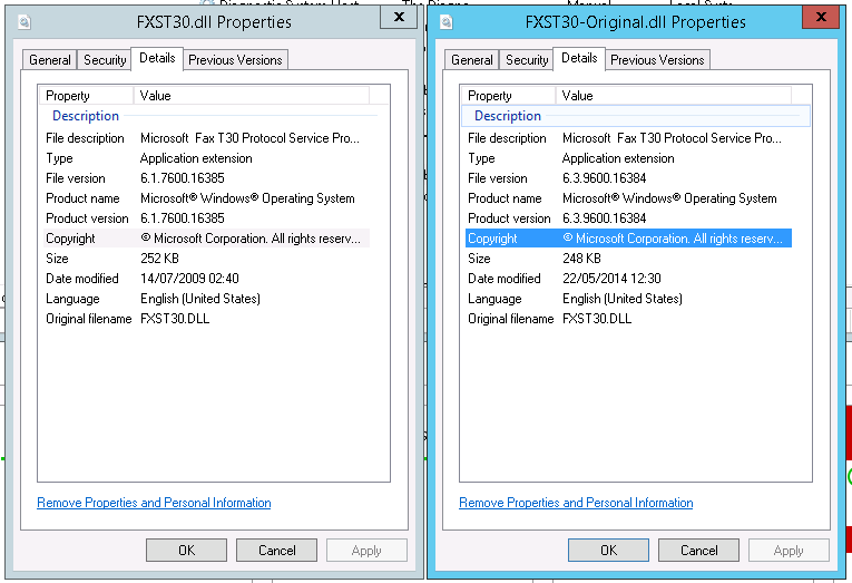 Properties of FXST30.dll from Windows Server 2012 r2 and Windows 7 - used to solve a crash that occurs on Windows Server 2012 r2 when receiving a Fax