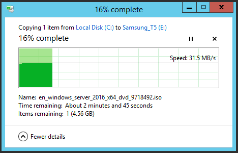 Image showing a file copy from a Dell PowerEdge to a Smasung Portable SSD T5 over USB2