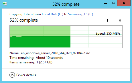 Image showing file copy from Dell PowerEdge to Samsung Portable SSD T5 over USB 3 using a Highpoint USB PCIe card