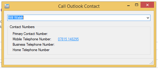 Calling an Outlook from the Gradwell Quick Dialer