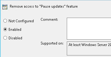 Image showing how to disable the Pause Updates Feature in Windows 10 in a domain environment