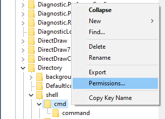 Image showing modification of permissions in registry editor.