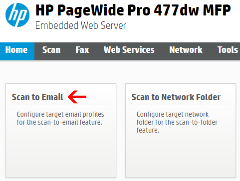 Image showing Scan to Email Menu option on a HP Printer