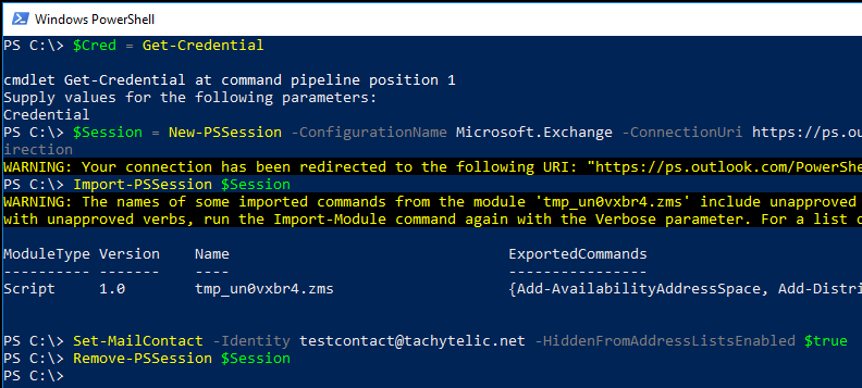 Image of Powershell session hiding a Mail Contact from the GAL