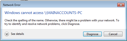 """Image showing """"Windows Cannot Access"""" network share after installing Windows update KB4480970"""