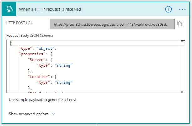 Image of HTTP Request in Microsoft Flow