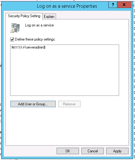 Defining the Logon as a Service group policy