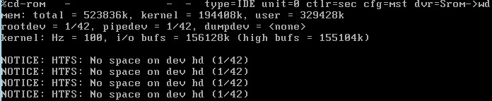 Image showing SCO Openserver failing to boot due to lack of disk space on the root Fileystem