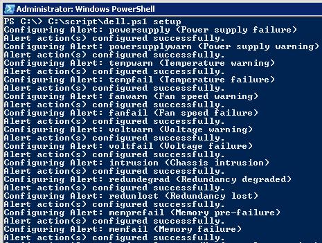 Image showing setup of Dell OpenManage email alert script