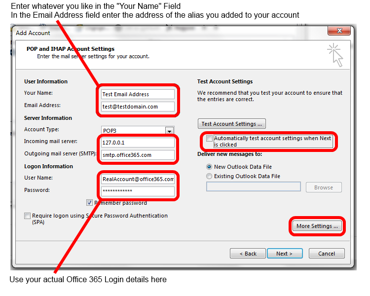 Correct Settings for sending email via an alias in Office 365
