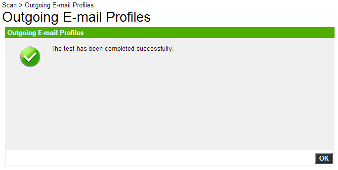 Officejet 8600 Outgoing E-Mail Profiles Test Complete
