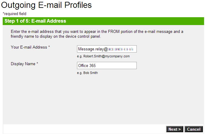 Officejet 8600 Step 1 of Email Profile Setup