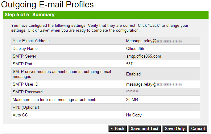 HP Officejet 8600 Email Profile Setup - Step 5 Summary