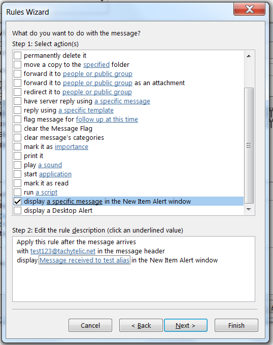 Displaying a custom new item alert in Outlook 2013 when an email is received to an email alias