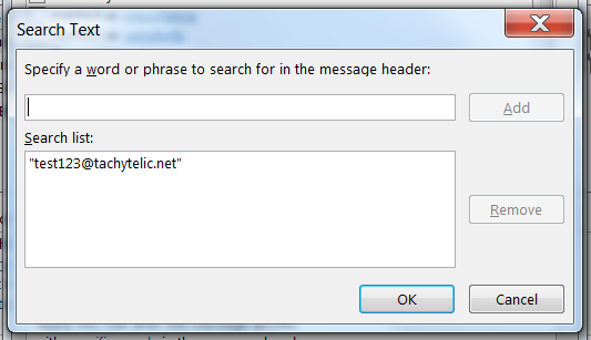 Outlook 2013 rule - specifying search text