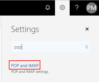 Imaging showing how to access pop and SMTP settings in Office 365 Outlook Web App