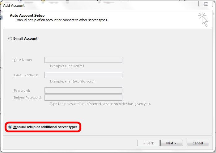 Image showing Outlook 2016 Account Setup Wizard to allow sending from an email alias in Office 365