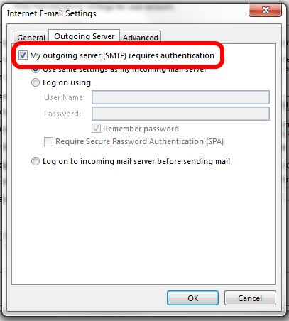Outlook 2013 SMTP Authentication for Office 365