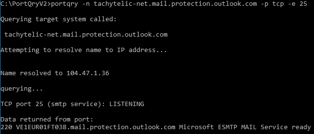 Image showing use of portqry.exe to test an SMTP Server with additional response message received from the server