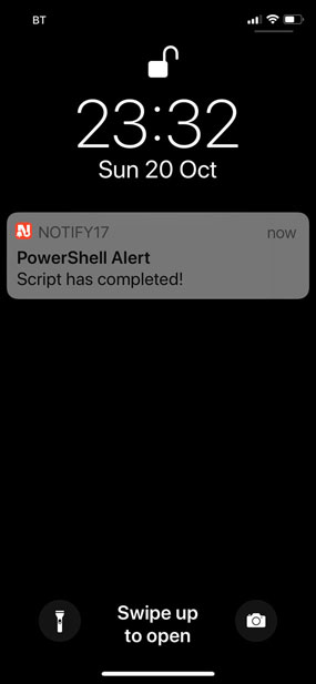Image of iPhone receiving push notification from a PowerShell Script using Invoke-Webrequest