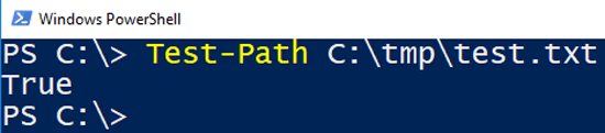 "Image showing result from Powershell ""Test-Path"" to check if a file exists."