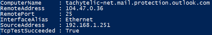Image showing how to Test SMTP Ports using Test-NetConnection with Powershell