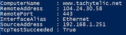 Image showing output of Powershell Test-NetConnection to test if a web server port is available