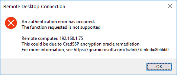 Image showing RDP CredSSP Authentication Error when connecting to a host with RDP