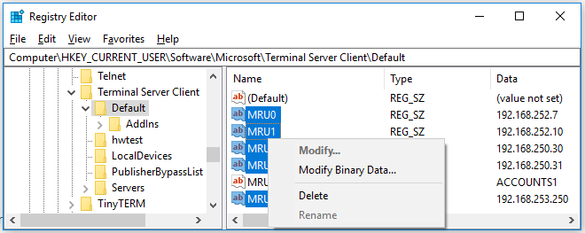 Image showing history of RDP connections in the Windows Registry