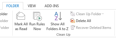 Outlook 2013 option to recover deleted items greyed out