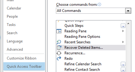 "How to add the ""Recover deleted items"" option to the Outlook 2013 quick access toolbar"