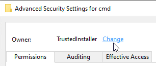 Image showing changing of the owner for registry permissions