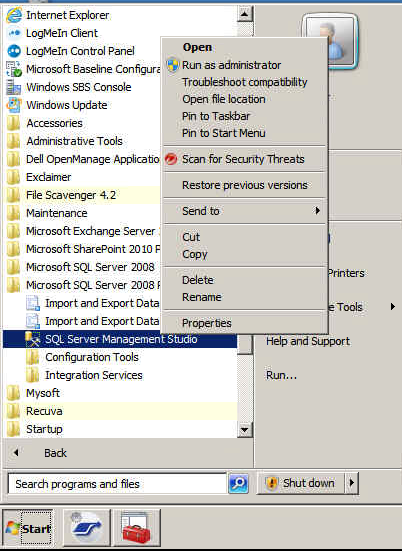 How to start SQL Server Management Studio in SBS 2011 as Administrator