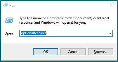 Image showing the Windows 10 run dialog box